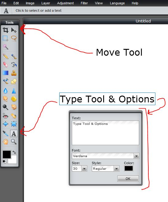 Watch Pixlr Tools Move Tool And Type Tool