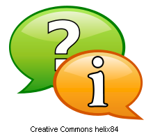 question and information in speech bubbles